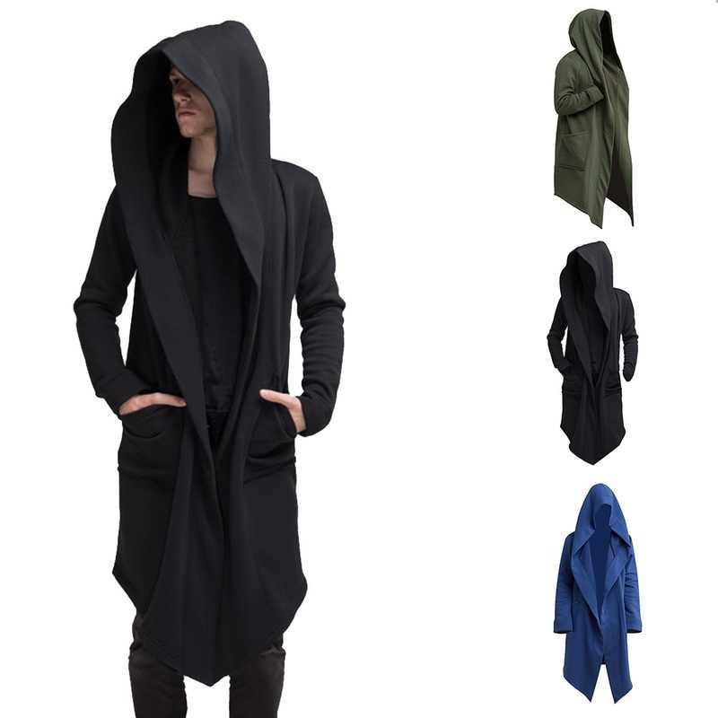 Vintage Mannen Herfst Winter Truien Jas Lange Vest Jas Casual Hip Hop Solid Pocket Jacket Hooded Uitloper Veste Homme