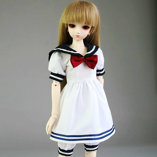 [wamami] 120# White & Dark Blue Shirt/Clothes/Dress/Suit 1/3  SD AOD BJD Dollfie napapijri guji check dark blue