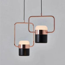 Postmodern metal plating rose gold champagne gold black white living room bedroom restaurant long simple chandelier led fixture(China)