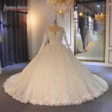 Robe de mariee lange mouwen met bloemen puffy baljurk trouwjurk bruids jurk