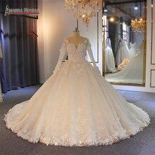 Robe de mariee mangas compridas com flores inchado vestido de baile vestido de noiva vestido de noiva
