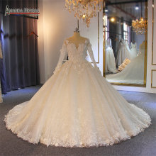 robe de mariee long sleeves with flowers puffy ball gown wedding dress bridal dress