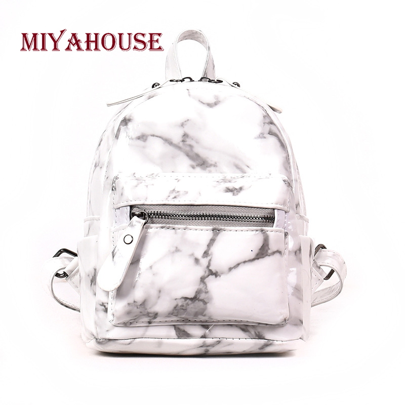 Miyahouse New Arrival Marble Design Small Backpacks Women Hit Color Mini Shoulder School Bags For Girls Travel Rucksack