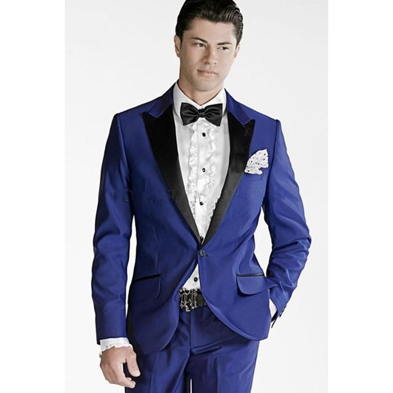Royal Blue Men Trajes Blace Collar Groomsmen Trajes Novio Tuxedos El - Ropa de hombre