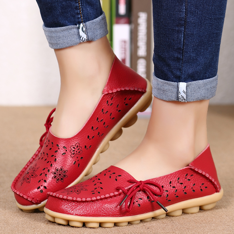 2019 Women Shoes Leather Shoes Moccasins Flats Driving Casual Footwear Women Flats Mother Loafers Soft Shoes WomanCasual Flats