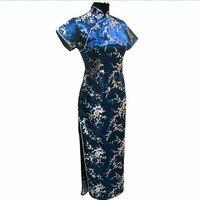 높은 품질 네이비 블루 중국어 번체 드레스 여성의 새틴 긴 치파오 Qipao 꽃 크기 Sml XL XXL XXXL 4XL 5XL 6XL