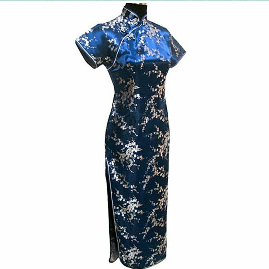 Haute Qualité Marine Bleu Traditionnel Chinois Robe Femmes Satin Long Cheongsam Qipao Fleur Taille S M L XL XXL XXXL 4XL 5XL 6XL
