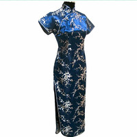 High Quality Navy Blue Traditional Chinese Dress Women S Satin Long Cheongsam Qipao Flower Size S