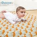 Nuevo 2015 newborn baby hold mantas Saco de dormir del bebé swaddle muselina de algodón de invierno bebé caliente manta tamaño 120x120 cm estrellas de aves