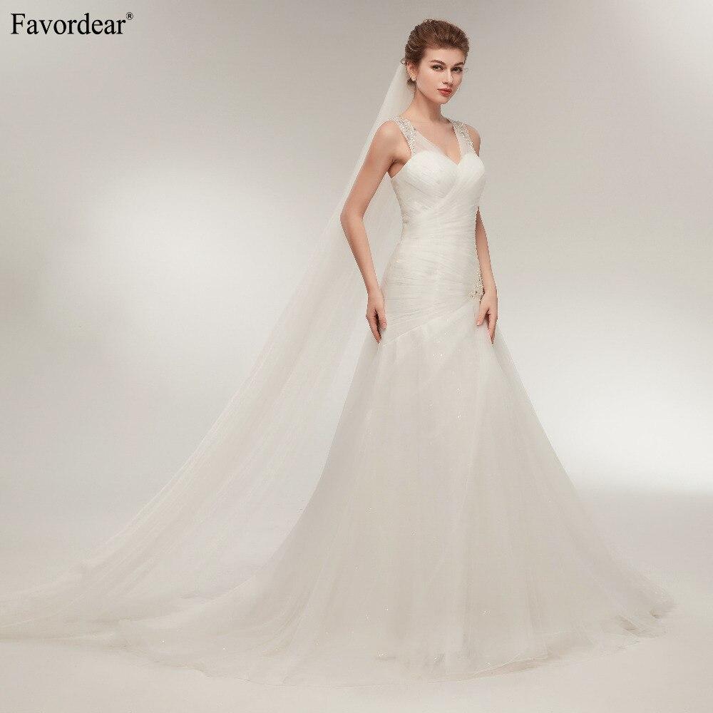 Favordear In Stock Sexy Mermaid Wedding Dress V Neck Beaded Tulle Sexy Bridal Gowns vestidos de novia Hot Sale