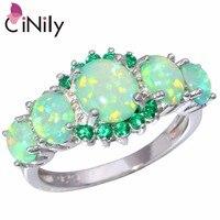 Fashion Beautiful Wholesale Retail For Women Jewelry Green Fire Opal Emerald Silver Ring Size 6 7