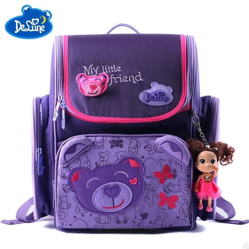 Delune Russia Cute Bear School Bags for Girls Waterproof Orthopedic Backpack Schoolbag Children Butterfly Knapsack Kids Satchel