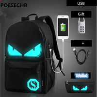 POESECHR USB Charge Computer Bag Backpack For Men Women Business Casual School Bag