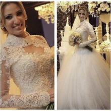 kejiadian 2019 Vintage Tulle Wedding Dresses Long Sleeves