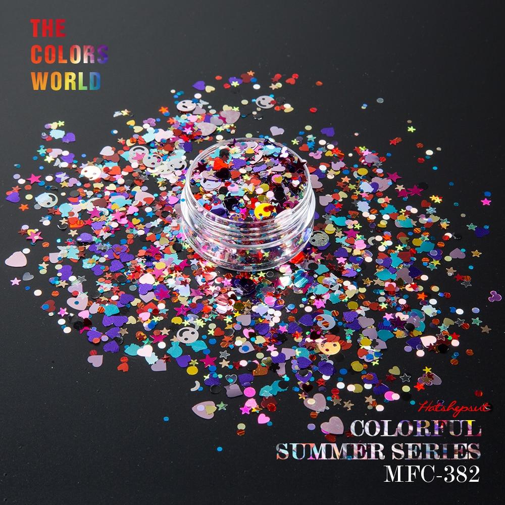 Set de vară colorat Mix Shape Mix Culori unghii sclipici pentru decorațiuni de unghii machiaj fațetă de vopsea unghii DIY
