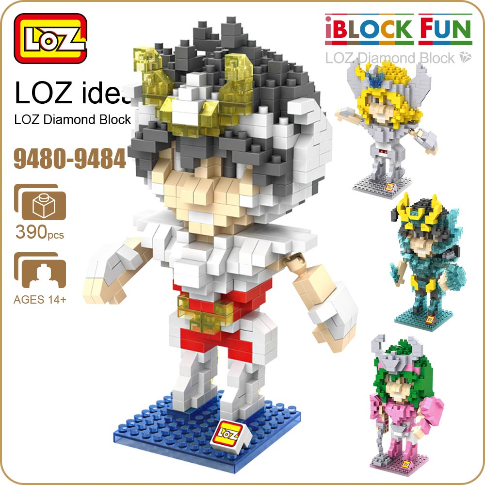 LOZ Diamond Blocks Super Hero Constellation Warrior Bronze Saints Mine Building Block Figures Fun DIY Assemblage Model 9480-9484 loz dc comics super heroes mini diamond building block batman