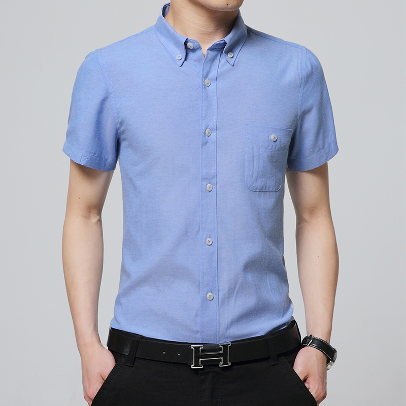 Summer Pure Color Mens Short Sleeve Blouse Size S M L 5XL Navy Blue Red Black White Gray Fashion Business Man Shirts Slim Cool