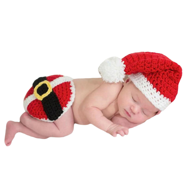 3e8a788cb09 Christmas Baby Christmas Hat And Short Pants Baby Crochet Hats Knitting Hat  Suit Newborn Photography Props