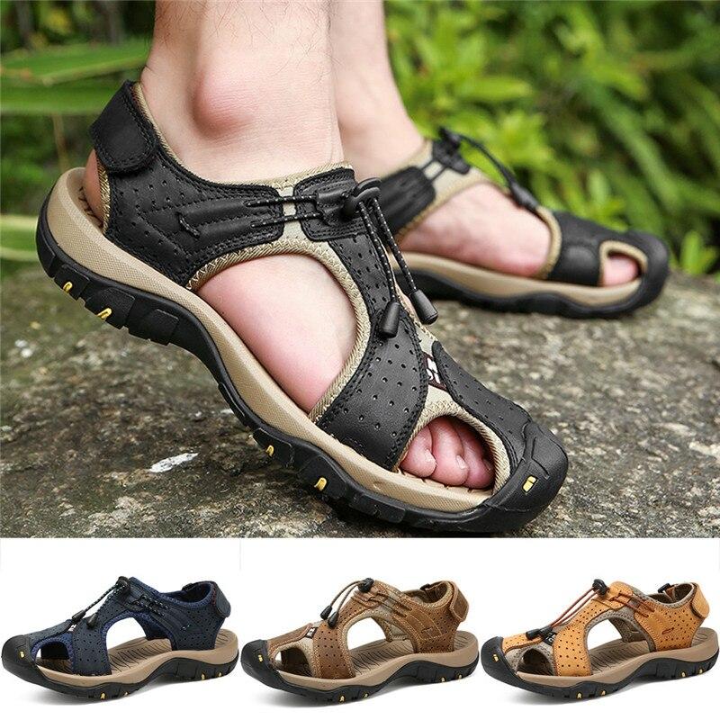 Été en plein air hommes en cuir appartements décontracté chaussures de plage respirant Sport sandales d'été chaussures de plage chaussures de Wading de l'eau 01