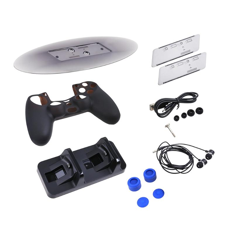 Dual Slot Charger+ 3.5mm Earphone + Joystick Button Cover + Stand + Charging Cable Kit for Sony PS4/Slim/Pro Controller