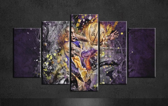 Basketball Kobe Bryant Wall Painting Canvas Art Posters Group Of 5 Piece For Living