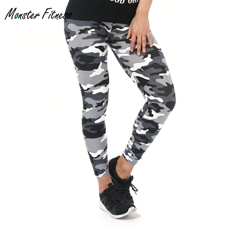 Monster Women's Running Thin Sports Pants Fitness Camouflage Leggings Tight Yoga Pants Stretched Gym Sportswear Athletic Trouser