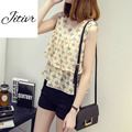2016 News Summer Women's Chiffon Tanks Sleeveless T-shirt Floral Shape Comfortable Fabric  Clothing Two Sides Short  Free Size