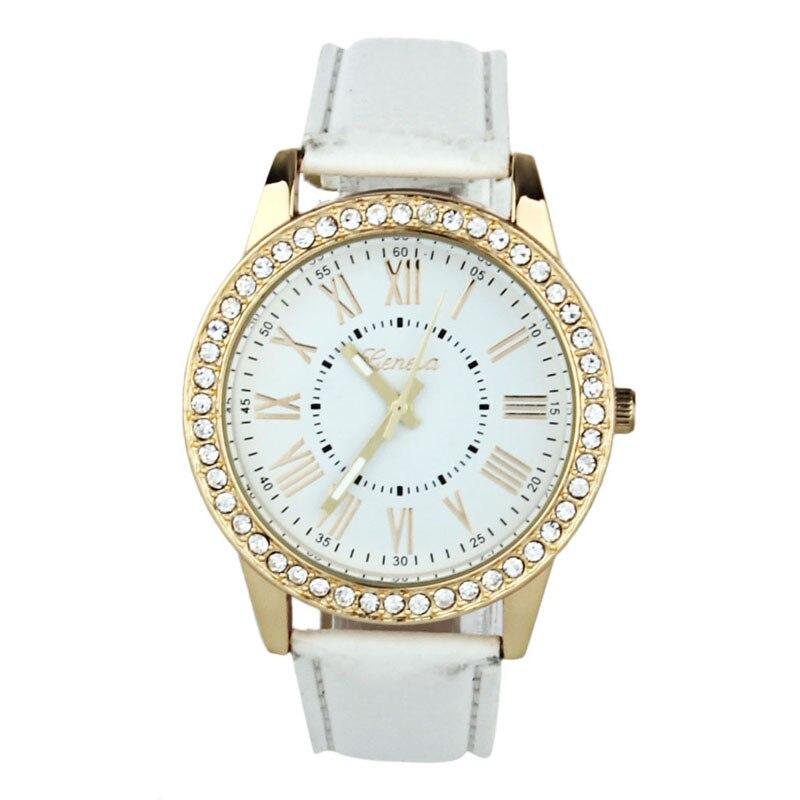 watch Women Rhinestone White Leather Band Quartz Wrist Watch wholesale Free shipping free shipping 1pc quartz watch impulse
