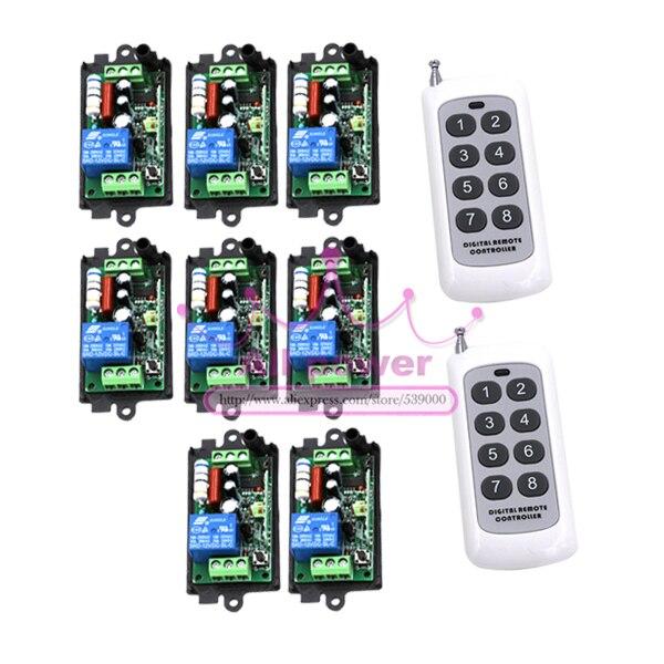 220 V 1CH Radio télécommande sans fil interrupteur 8 récepteur et 2 émetteur Code d'apprentissage lampe LED ON OFF sortie ajustée mini