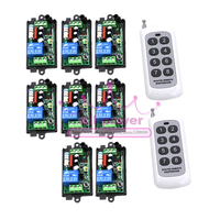 220V 1CH Radio Wireless Remote Control Switch 8 Receiver 2 Transmitter Learning Code Light Lamp LED