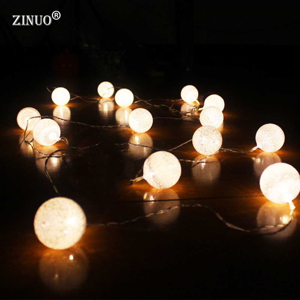 ZINUO LED Fairy String Light AA Battery Powered Cotton Ball Garland Globe String Light N ...