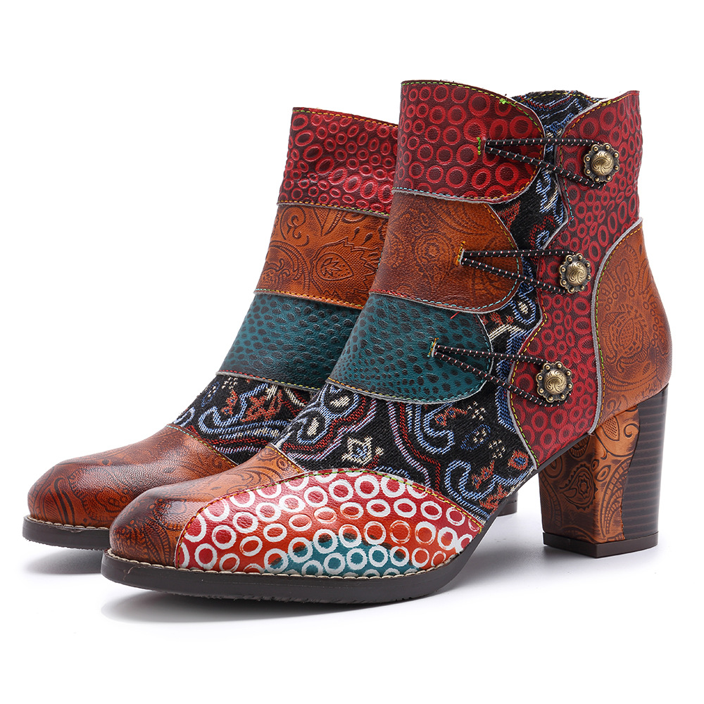 Ayakk.'ten Ayak Bileği Çizmeler'de Johnature Toka Askı 2019 Yeni Hakiki Deri yarım çizmeler Kadınlar için Bahar Sonbahar Bayan Ayakkabıları Kadın Çiçek Bohemia Patik'da  Grup 1