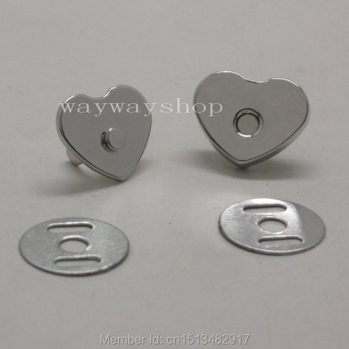 14mm 18mm  Love Heart Magnetic Snap Purse Handbag Closures Clasps Button DIY Bag