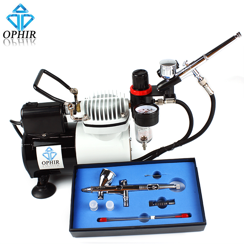 OPHIR Pro Airbrushing Compressor with Fan 0.2mm,0.3mm,0.5mm Tips Airbrush Kit for Cake Decoration _AC114+AC004A+AC070 ophir cake airbrush kit with air compressor edible pigment