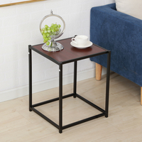 Rustic Metal Frame Veneer Surface Side Table End Table Dropshipping