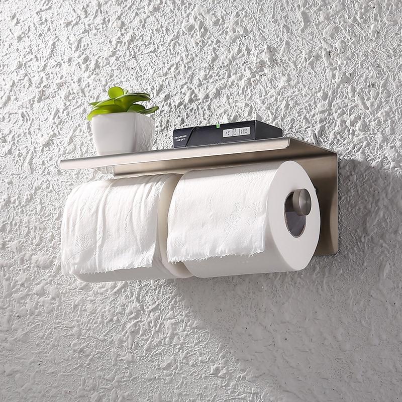 Storage Paper Roll Holder Shelf Silver Bathroom Keys Lengthen Stainless Steel Toilet Tissue Rustproof Organizer