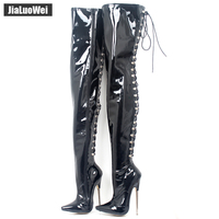 jialuowei Women Boots Sexy 18cm High Heels Metal Thin Heels Woman Pointed toe Cross tied Over Knee Thigh High Dancing Party Boot