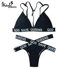 6c8e9db657 Water Princess Bikini Set 2017 Swimsuit Adjustable Triangle Letter Women  Push Up Swimwear Sexy Bathing Beachwear Biquini Female