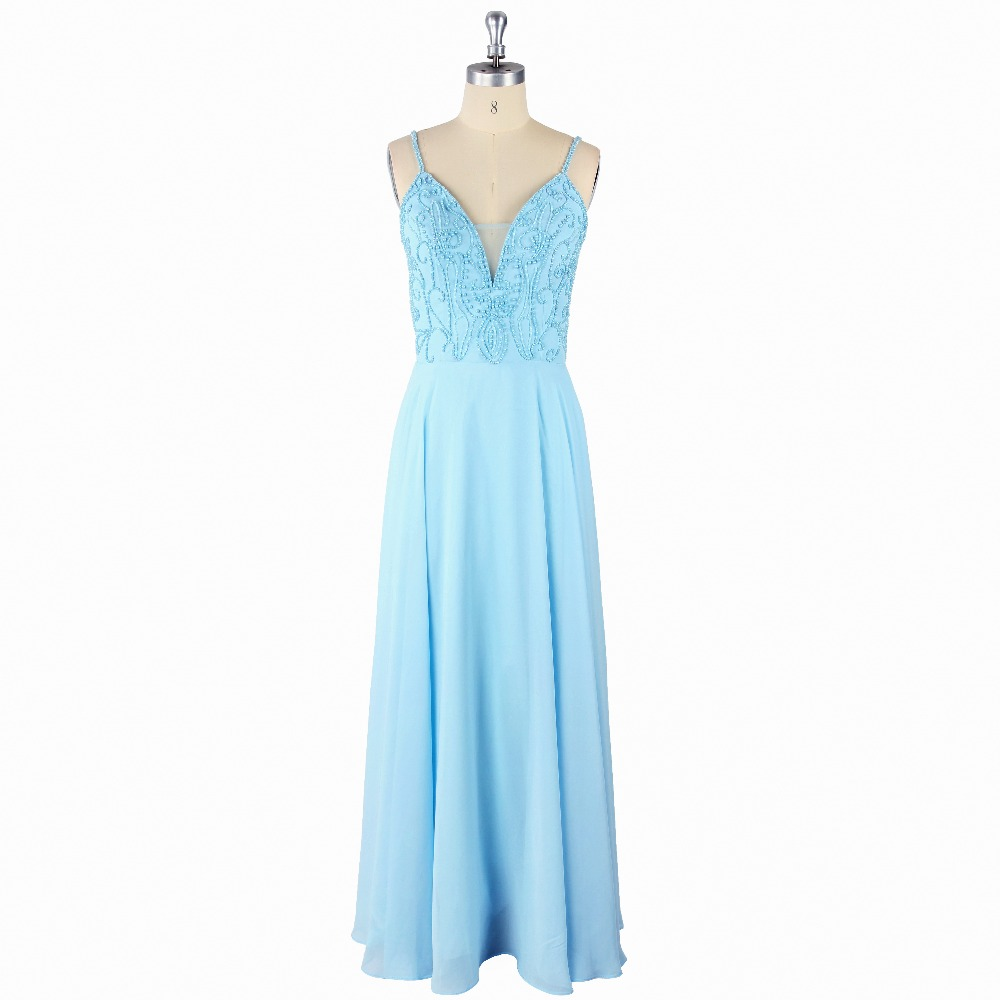 2017 Sexy Blue Natural Waist Beading Spaghetti Straps Sleeveless A-Line Floor-Length Satin   Prom     Dress