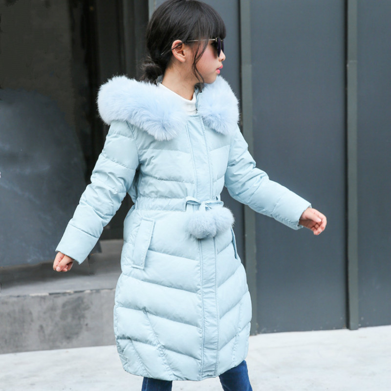 Warm Thick Fur Hooded Girl Teenage Slim Coat Long Winter Kids White Duck Down Jacket for Girls Children's Outerwear Down Jacket girls winter coat casual outerwear warm long thick hooded jacket for girls 2017 fashion teenage girls kids parkas girl clothing