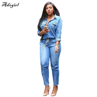 Brand Elastic Waist V Neck Leisure Jean Bodysuit Women Denim Suits Bandage Playsuits Casual Sexy Romper