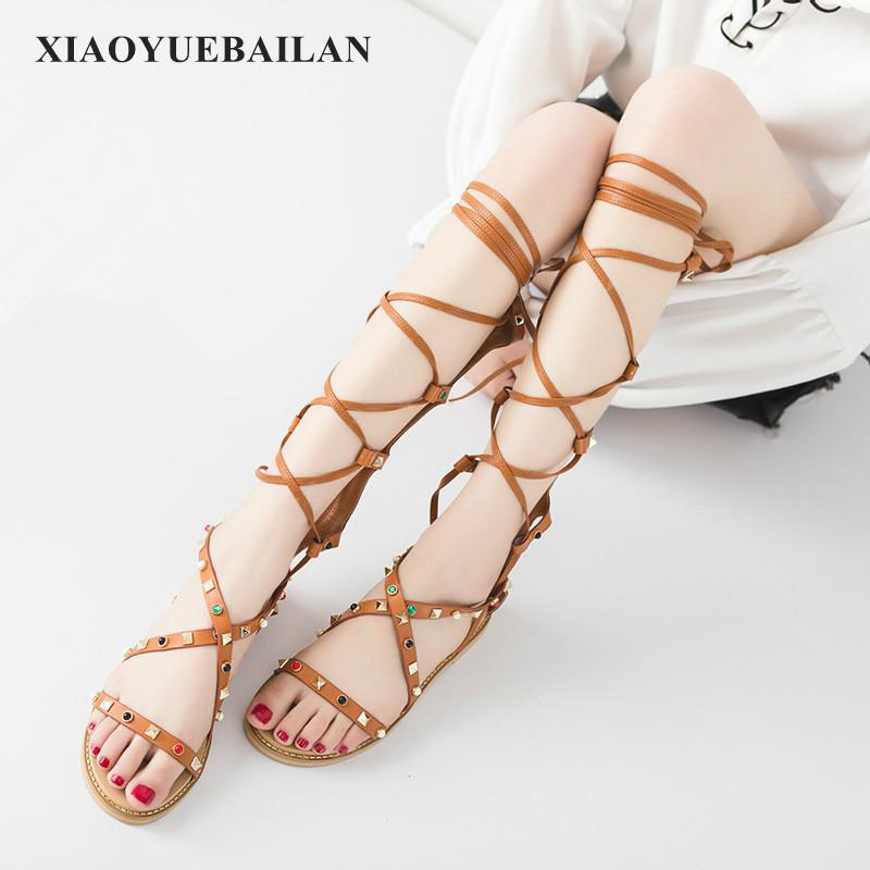 High Cross Strap Sandals Help Rome Zipper With Coarse Diamond Rivets Shoes Slippers A Comfortable And Light