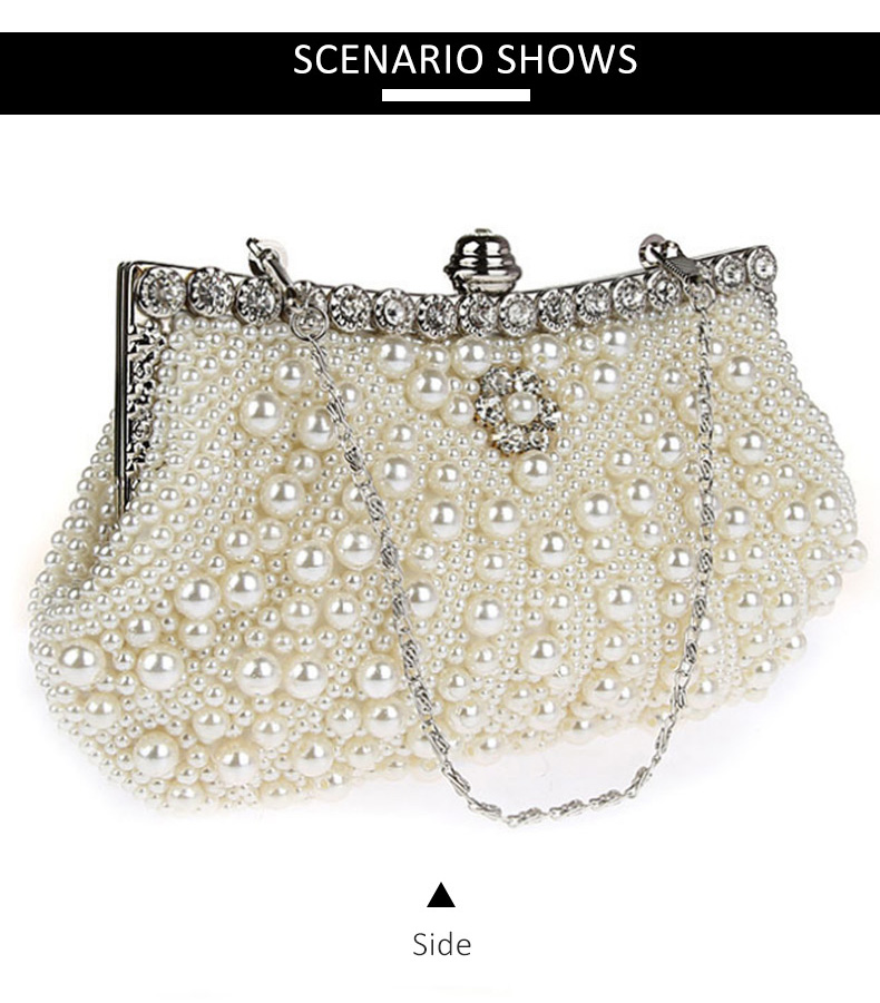 5361b292822c1 pearls evening bags: fashion beaded day clutch wedding bride bag purse  chains handbag women shoulder bag: luxury day clutch fashion purse