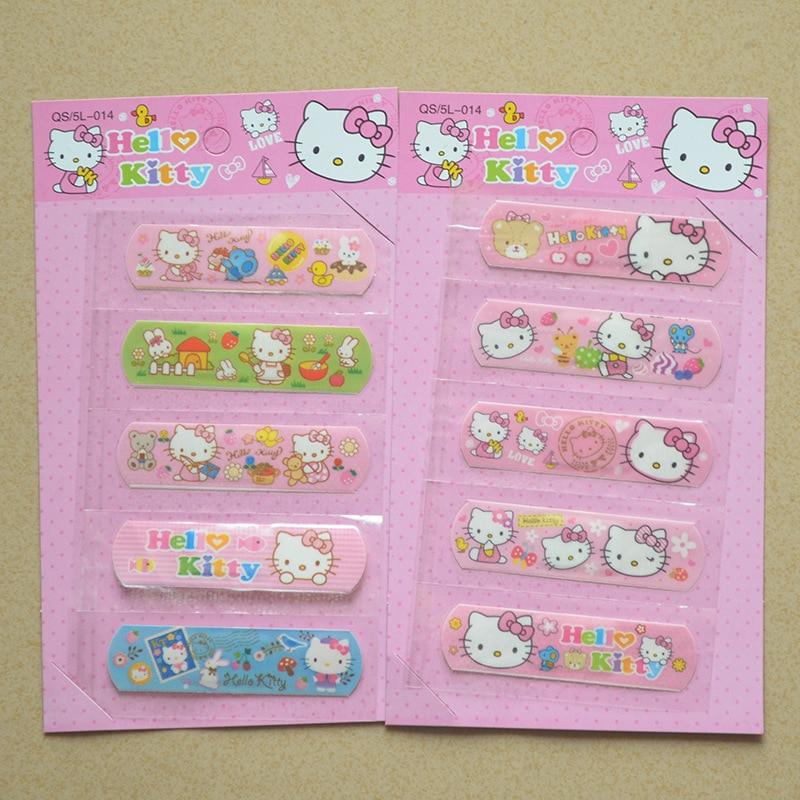 1 Set/5 PCS Cute Hello Kitty Animation Waterproof Cartoon Bandage Sticker Baby Kids Care First Band Aid Travel Emergency Kit стоимость