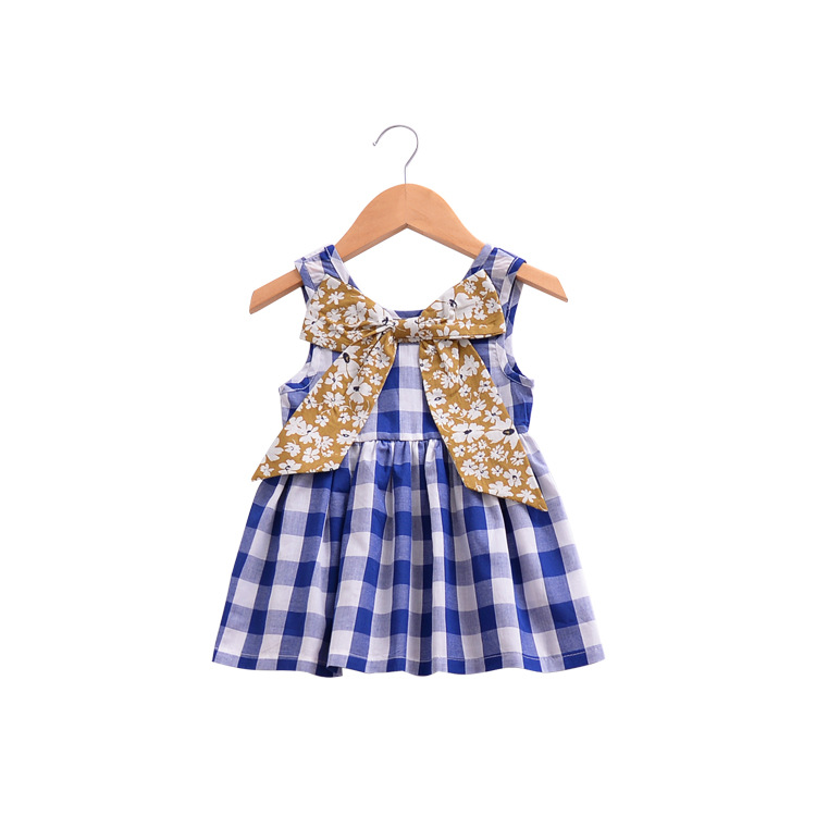 Childrens dress girls floral hit color butterfly plaid dress baby dress