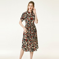 floral silk shirt dress long rockabilly plus size maxi party bohemian beach sexy women summer dresses robe 2019 Leaf Printed