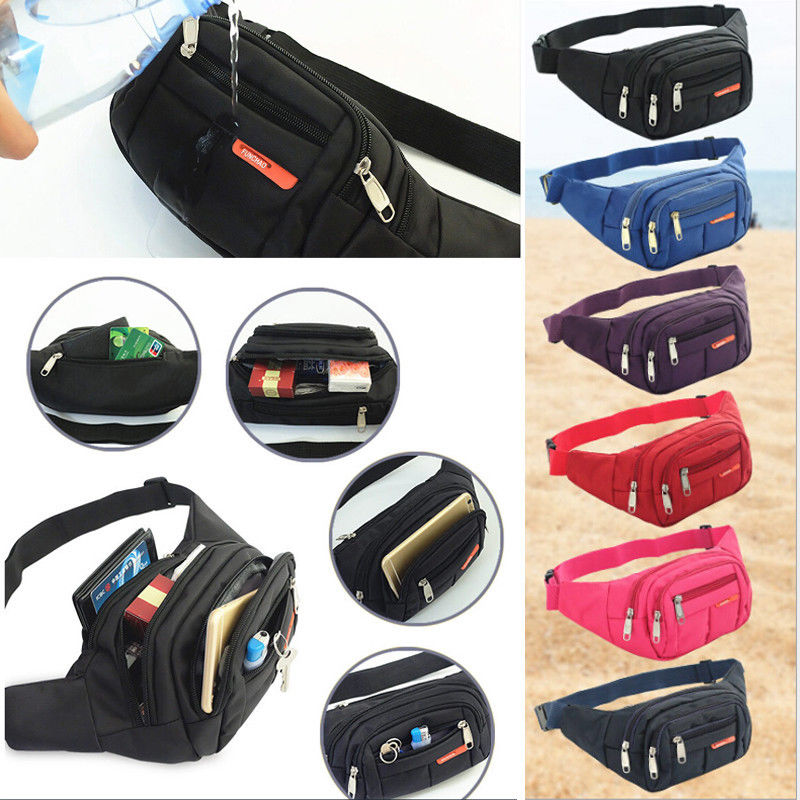 Galleria fotografica New Fanny Nylon Waist Pack For Men Women Hip Belt Bag Purse Pouch Pocket Travel Sport Bum Chest Bag Waterproof