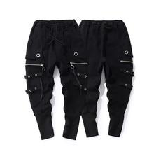 Модные повседневные мужские черные спортивные штаны высокого качества с завязками в стиле хип-хоп, мужские уличные повседневные брюки