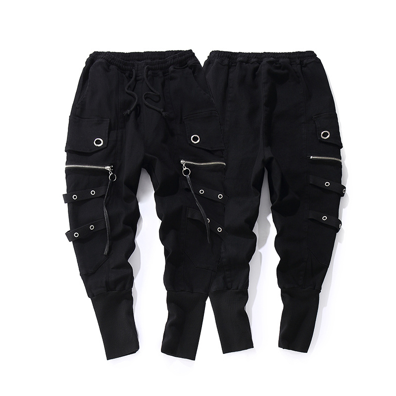 Fashion Drawstring Casual Men High Quality Joggers Black Sweatpants Ribbon Hip Hop Men Streetwear Casual Trousers Cross-pants