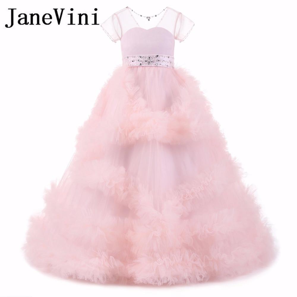 JaneVini 2018 Beaded Sheer Neck   Flower     Girl     Dresses   for Weddings Cloud Ball Gown Short Sleeve Child Kids Evening Pageant   Dresses